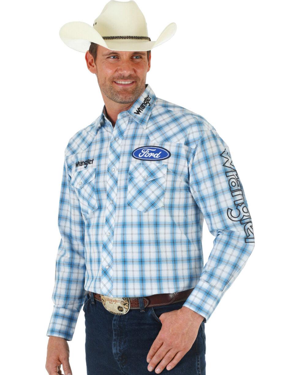 Wrangler Men's Ford Logo Long Sleeve Shirt, White, hi-res