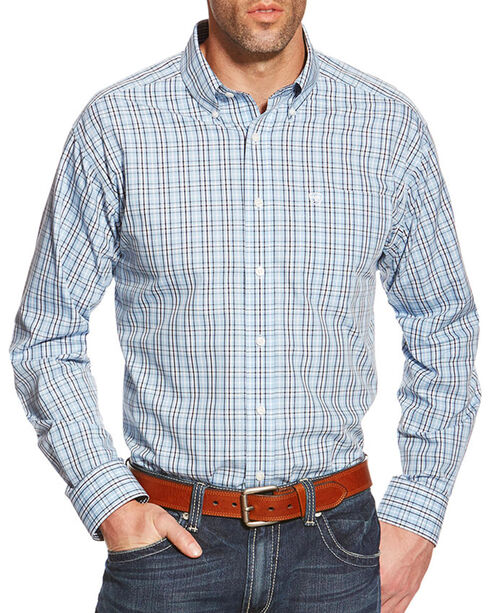Ariat Men's Zeke Wrinkle Free Long Sleeve Shirt, Light/pastel Blue, hi-res