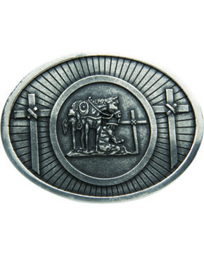 AndWest Men's Antique Silver Praying Cowboy Belt Buckle, Silver, hi-res