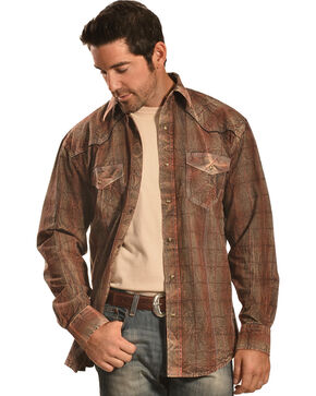Crazy Cowboy Men's Distressed Brown Plaid Western Snap Shirt , Multi, hi-res