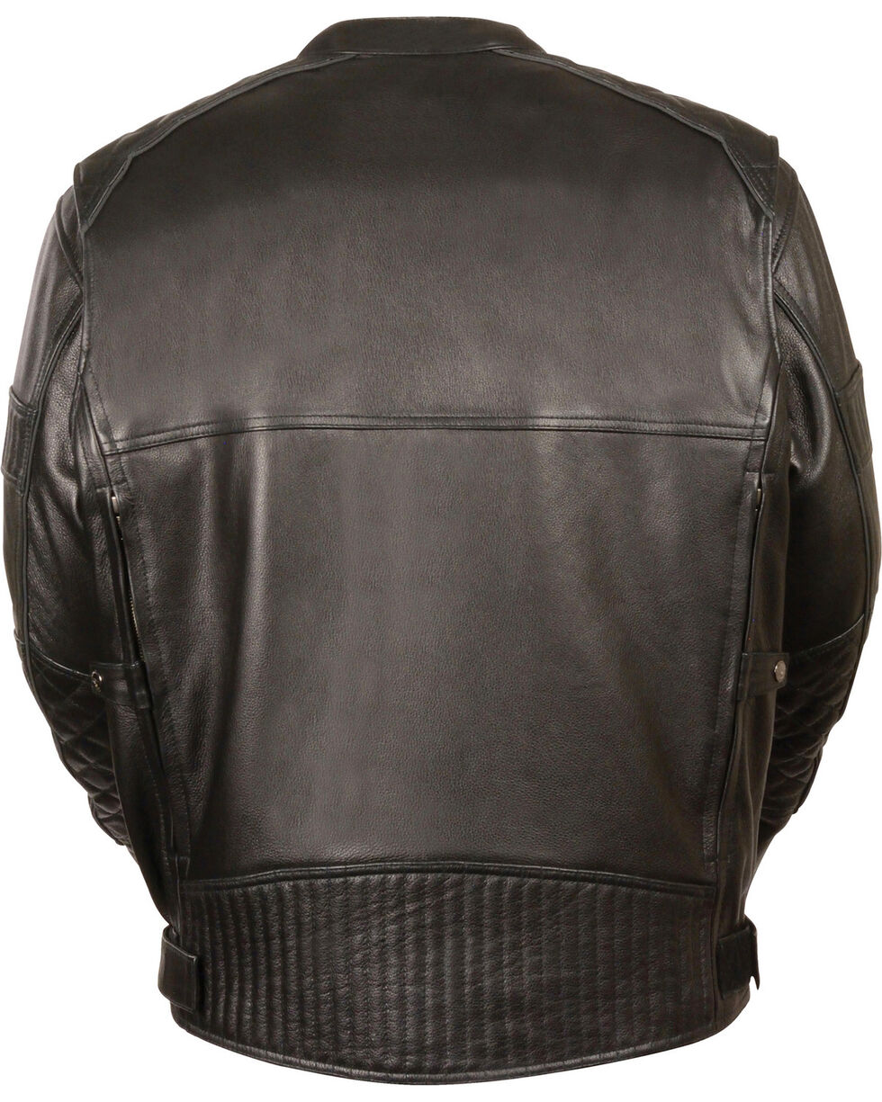 Milwaukee Leather Men's Black Quilted Pattern Scooter Jacket - Big 4X, Black, hi-res