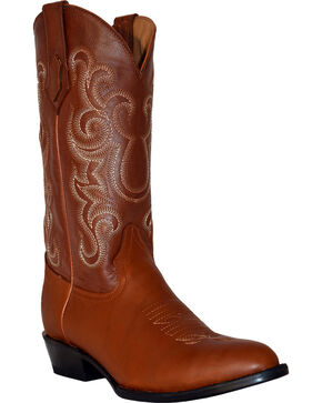 Ferrini Men's French Calf Leather Cowboy Boots - Round Toe, Cognac, hi-res