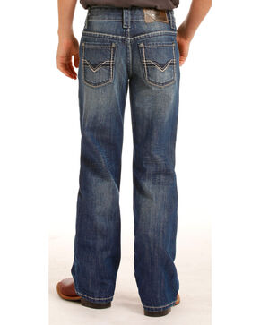 Rock & Roll Cowboy Boys' Blue Gun Ivory Stitched Jeans - Boot Cut , Blue, hi-res