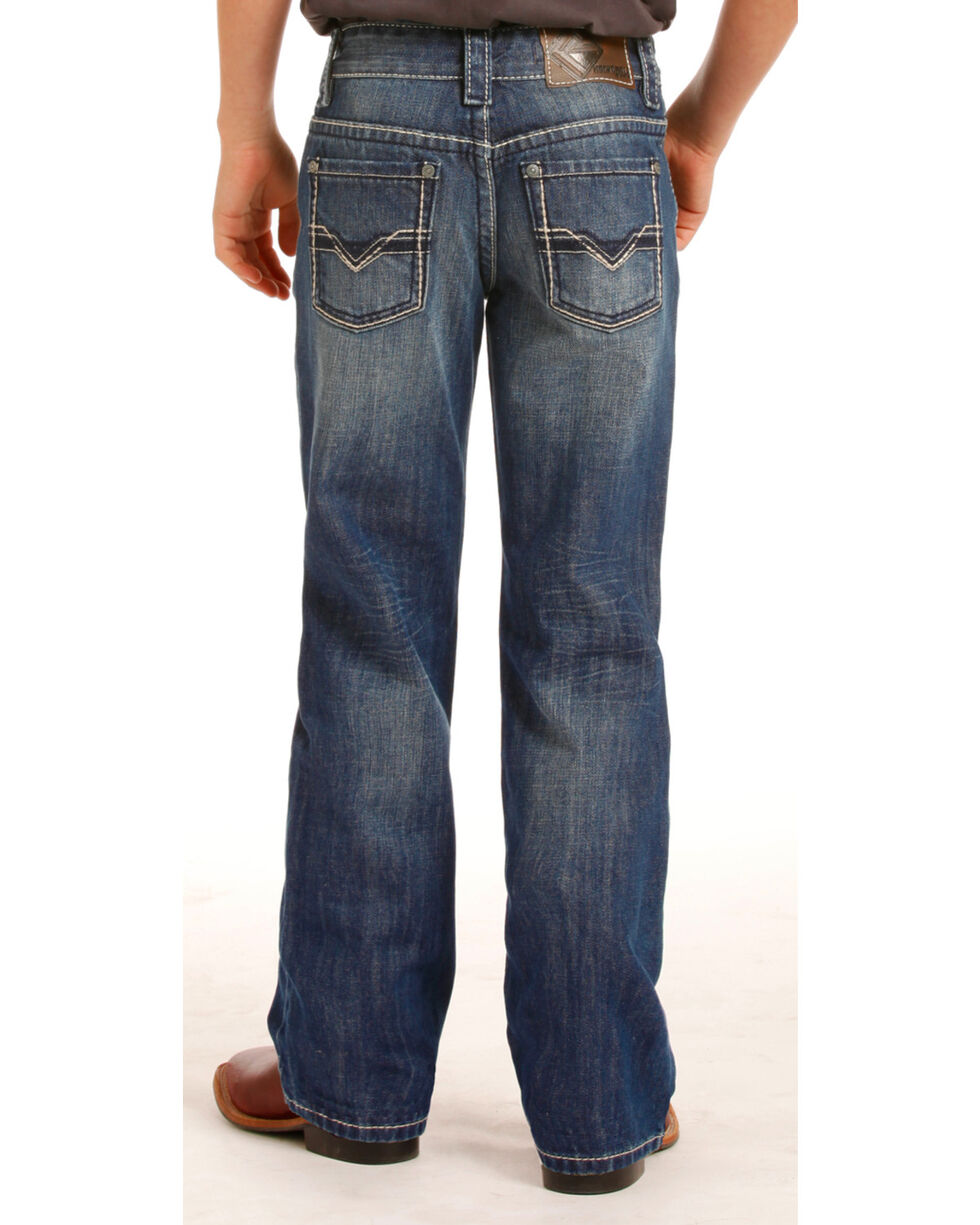 Rock & Roll Cowboy Boys' Blue Gun Ivory Stitched Jeans - Boot Cut , , hi-res