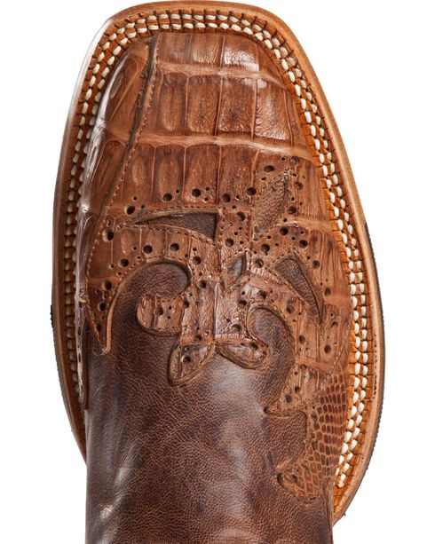 Cinch Classic Caiman Wingtip Overlay Cowgirl Boots - Square Toe, Chocolate, hi-res