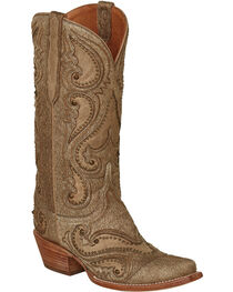 Lucchese Natural Lyla Calf Hair Cowgirl Boots - Snip Toe , , hi-res