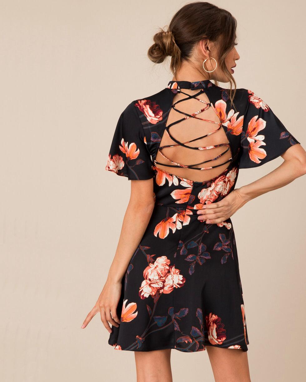 Black Swan Women's Floral Satin Cross Back Dress, , hi-res