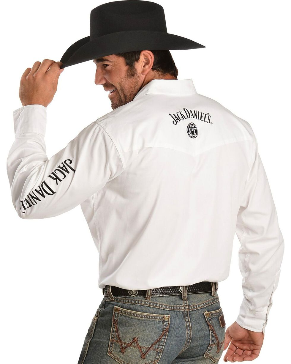 Jack Daniel's Men's Old No. 7 Long Sleeve Western Shirt, White, hi-res