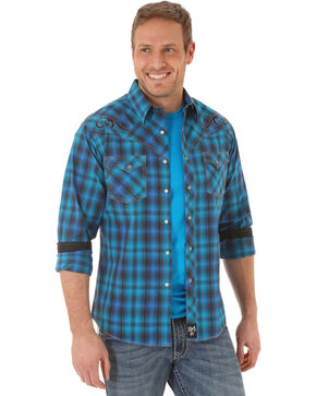 Rock 47 by Wrangler Men's Plaid Long Sleeve Shirt, Navy, hi-res