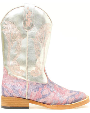 Blazin Roxx Girls' Youth Jolene Glitter Camo Boots, Pink, hi-res