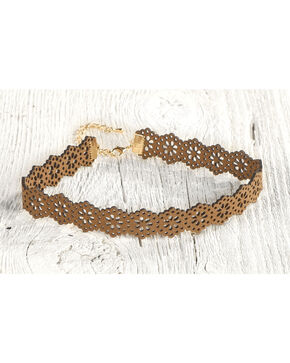 Silver Strike Women's Brown Floral Choker Necklace , Brown, hi-res