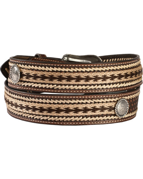 Nocona Basketweave with Leather Whipstitching Embroidered Belt, Brown, hi-res