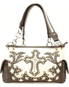 Blazin Roxx Bedecked Fancy Cross Satchel Bag, Cream, hi-res