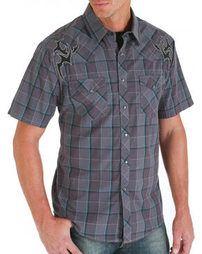 Rock 47 Men's Embroidered and Plaid Short Sleeve Western Shirt, Grey, hi-res