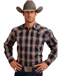 Stetson Men's Rugged Gray Plaid Print Western Shirt, Grey, hi-res