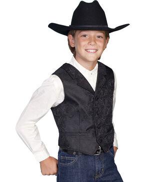 Scully Boys' Paisley Vest, Black, hi-res