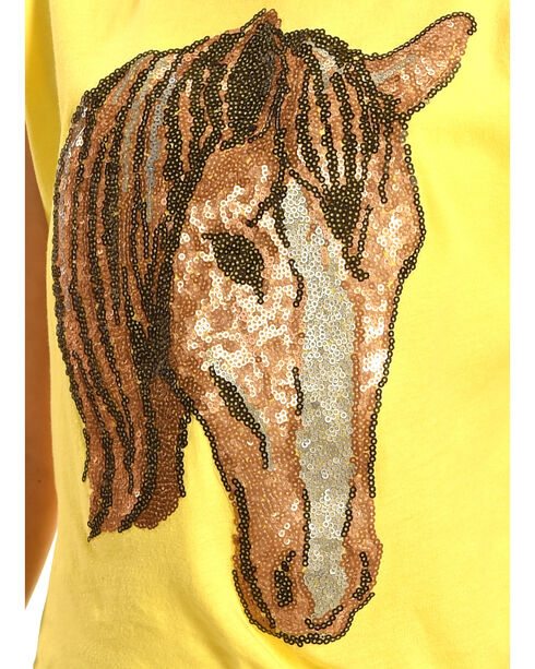 Shyanne Girls' Sequin Horse Short Sleeve Top, Yellow, hi-res
