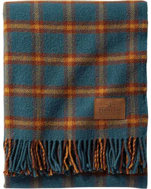 Pendleton Buck Horn Wool Motor Robe Throw With Leather Carrier, Green, hi-res
