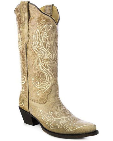 Amazon.com | Girls' Betseyville Reece Floral Embroidered Cowboy Boots -  Stone | Boots