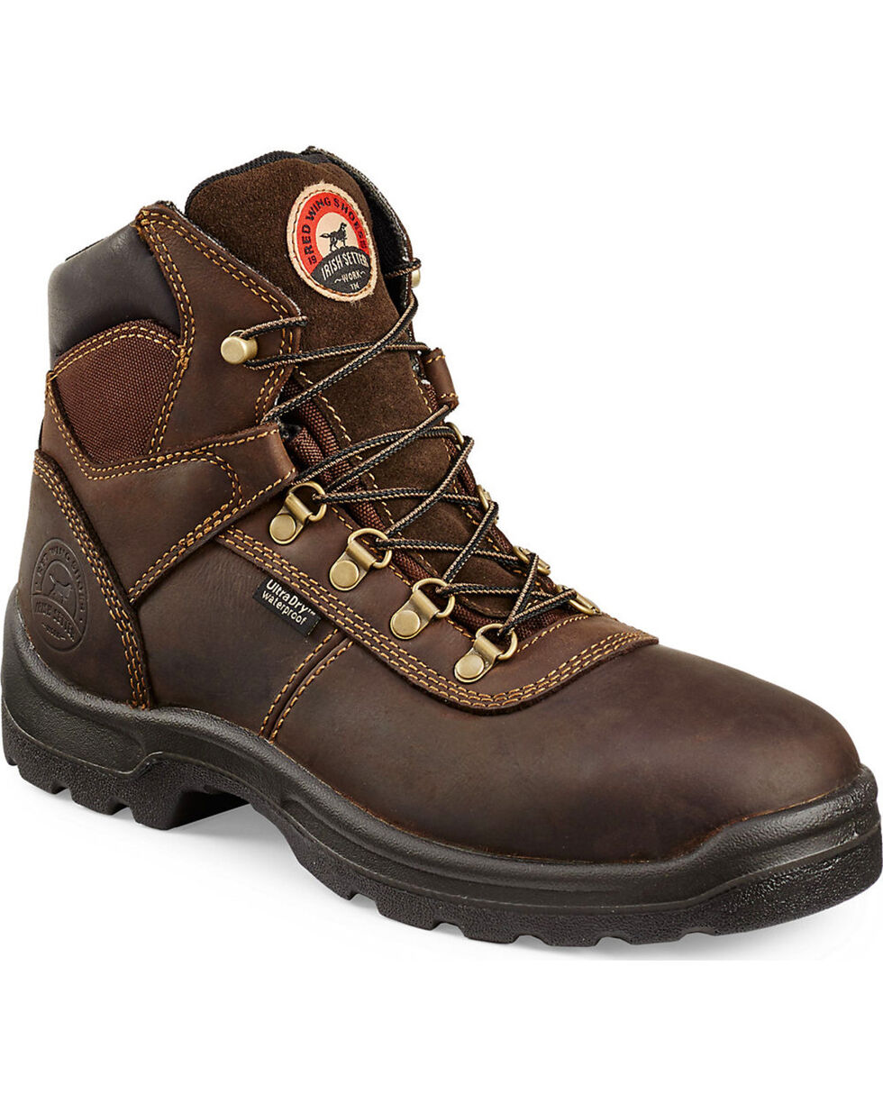 "Irish Setter by Red Wing Shoes Men's Ely Brown Hiker 6"" Work Boots - Steel Toe, Brown, hi-res"