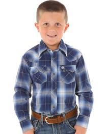 Wrangler Boys' Blue Ombre Plaid Long Sleeve Shirt, Blue, hi-res