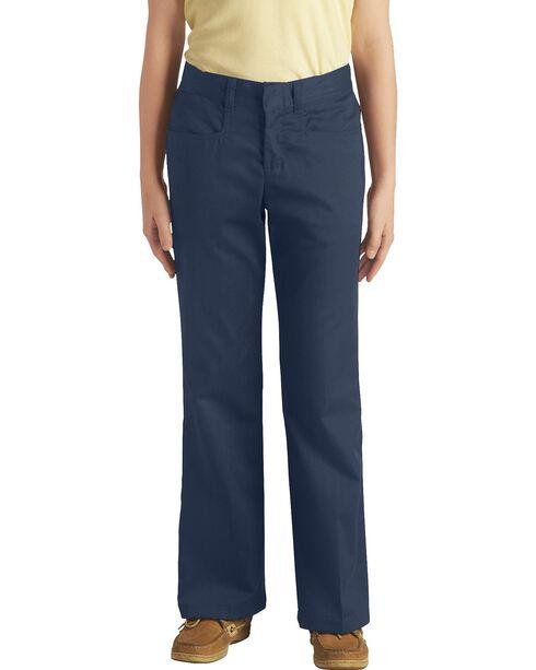 Dickies Girls' Stretch Bootcut Pants - 16-18, Navy, hi-res