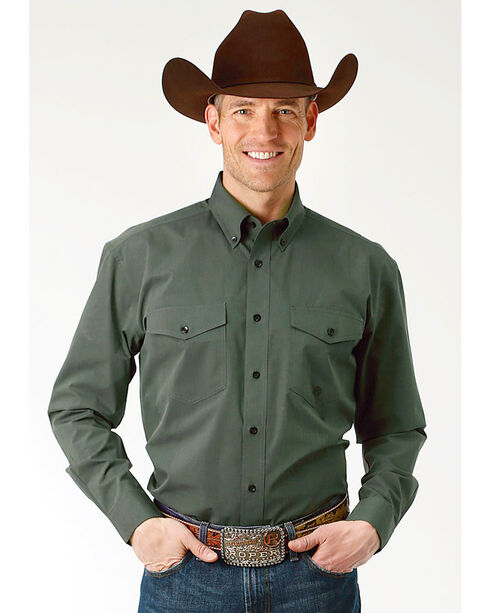 Roper Men's Solid Green Long Sleeve Button Down Shirt , Green, hi-res