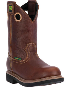 "John Deere Men's 11"" Waterproof Pull On Boots - Steel Toe , Brown, hi-res"