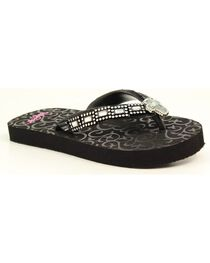 Blazin Roxx Girls' Black Journi Flip Flops, , hi-res