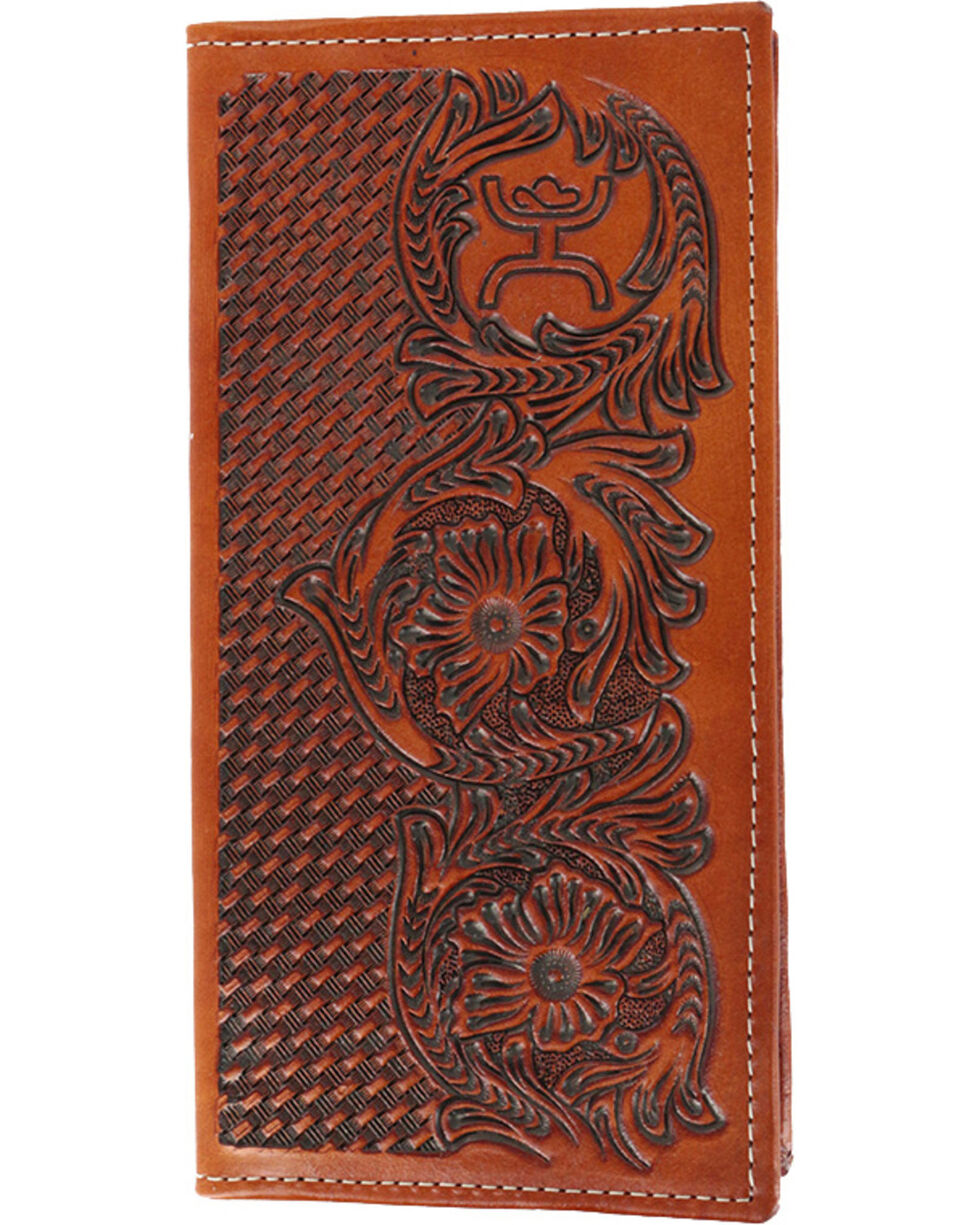 HOOey Men's Tooled Leather Rodeo Wallet, Brown, hi-res