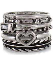 Shyanne® Women's Silver Mixed Ring Set, , hi-res