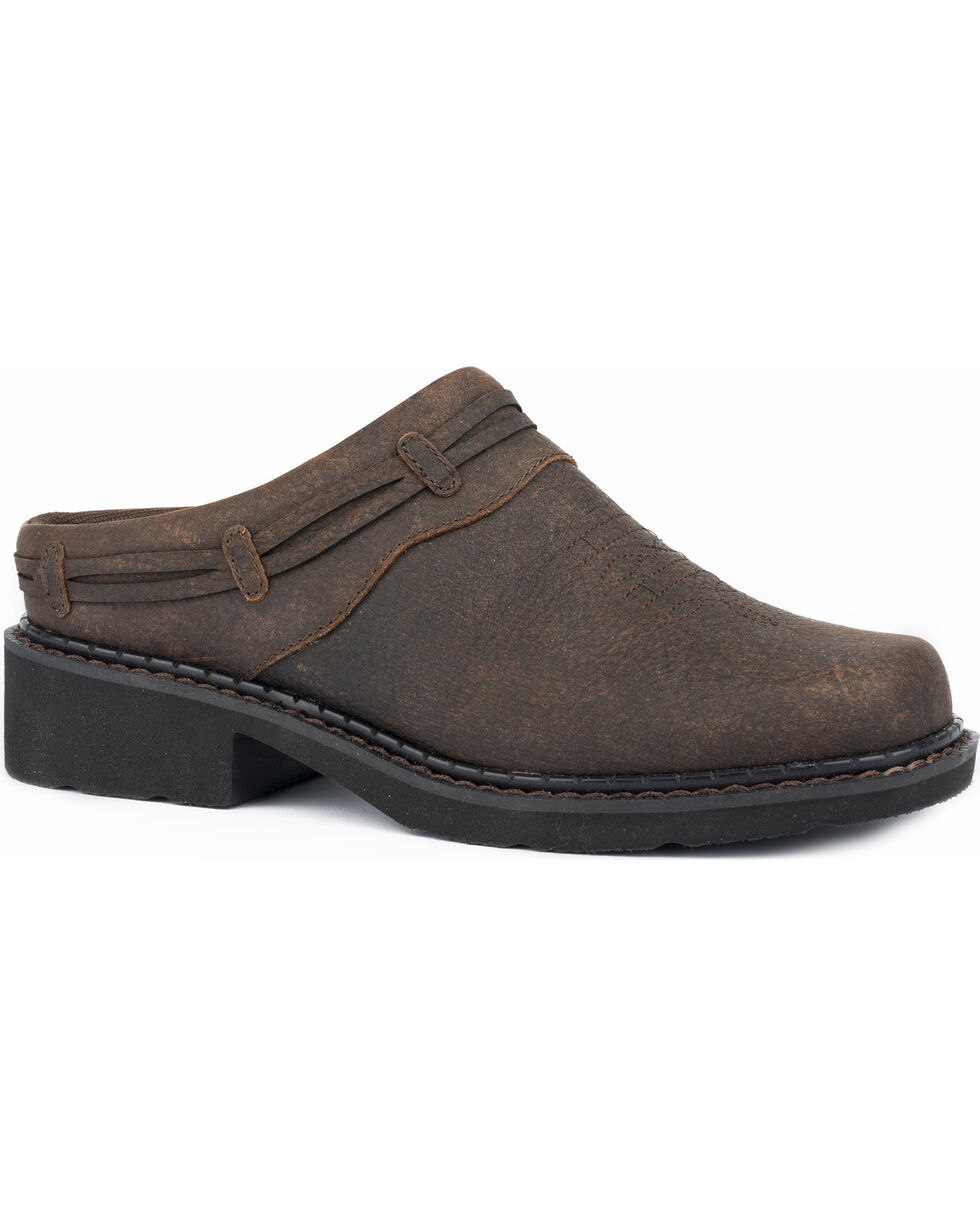 Roper Women's Laces Brown Leather Slip On Mules - Round Toe, Brown, hi-res