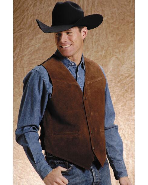 Roper Men's Suede Leather Vest, Brown, hi-res