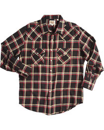 Ely Cattleman Men's Black Western Flannel Shirt , , hi-res