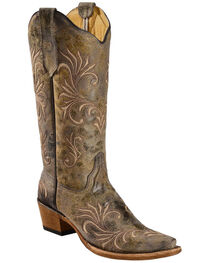 Circle G Women's Distressed Filigree Embroidered Western Boots, , hi-res