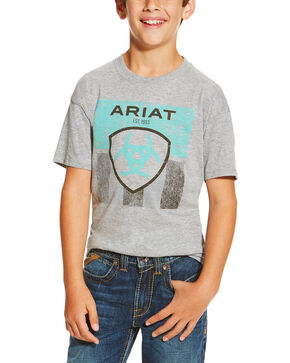 Ariat Boys' Stars and Stripes Tee, Grey, hi-res