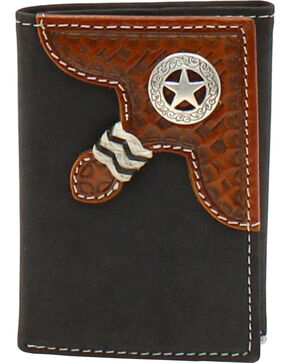 Nocona Star Concho Basketweave Braid Trifold Wallet, Black, hi-res