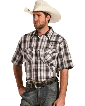 Jack Daniel's Men's Black and White Plaid Short Sleeve Western Shirt , Black, hi-res