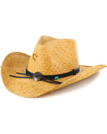 Charlie 1 Horse Women's Concho Straw Hat, Lt Brown, hi-res