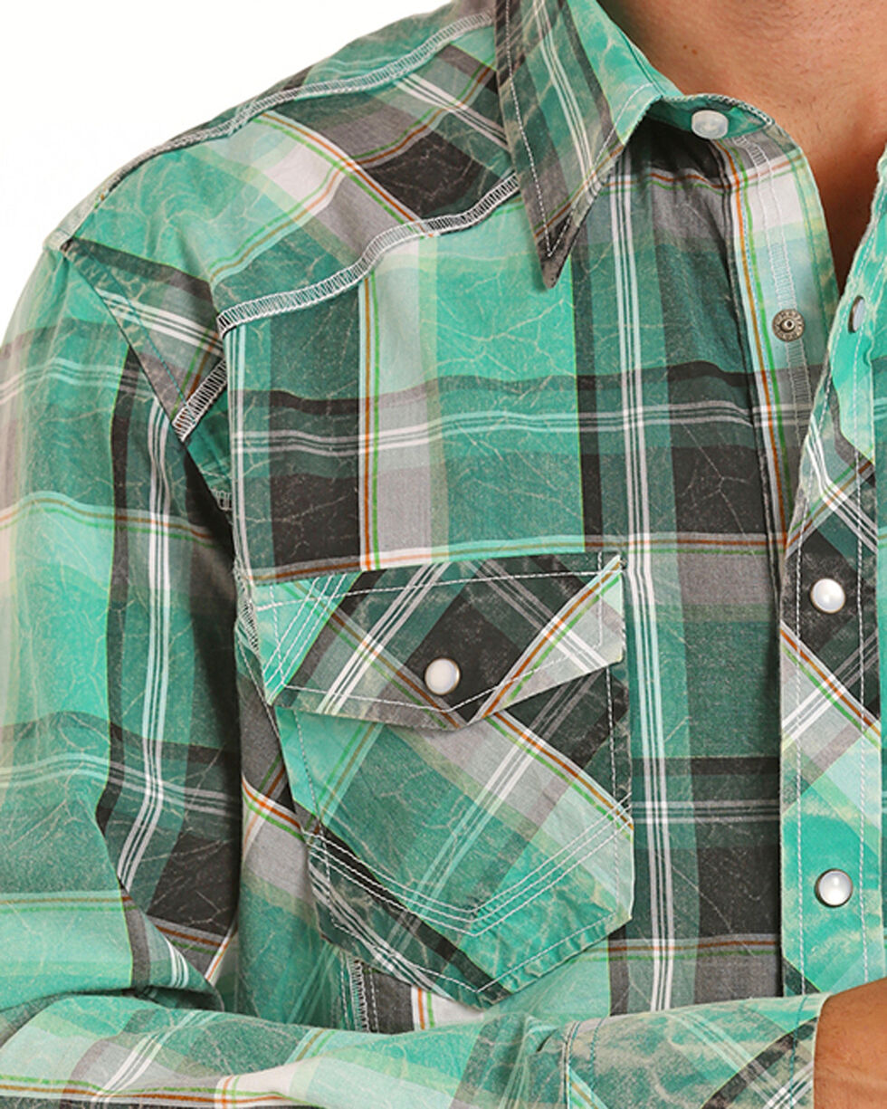 Rock & Roll Cowboy Men's Green Crinkle Washed Plaid Shirt , Green, hi-res