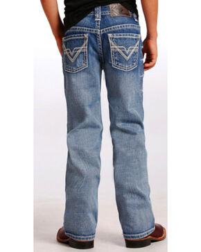 "Rock & Roll Cowboy Boys' Ivory ""V"" Running Stitch Jeans - Boot Cut, Indigo, hi-res"