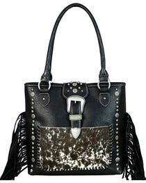 Trinity Ranch Women's Black Hair-On Leather Concealed Carry Tote , , hi-res