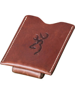 Browning Men's Cognac Leather Money Clip Wallet, Brown, hi-res