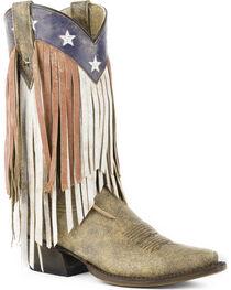 Roper Women's Brown Americana Fringe Boots - Snip Toe , , hi-res