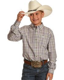 Ariat Boys' Dexter Green Plaid Shirt, , hi-res