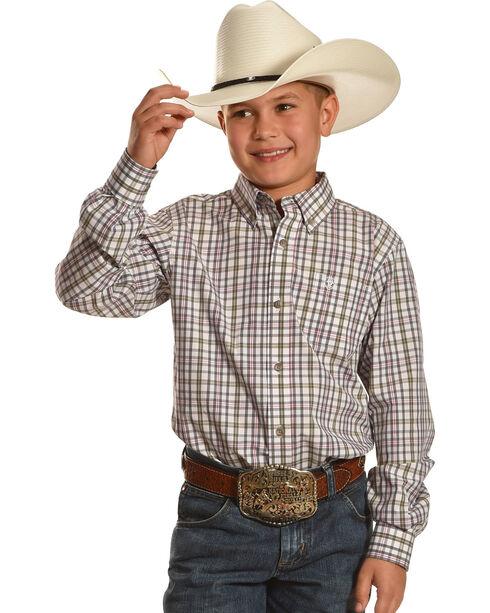 Ariat Boys' Dexter Green Plaid Shirt, Multi, hi-res