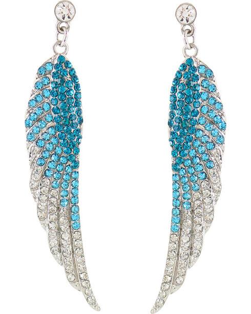 Shyanne® Women's Rhinestone Wing Earrings, Turquoise, hi-res