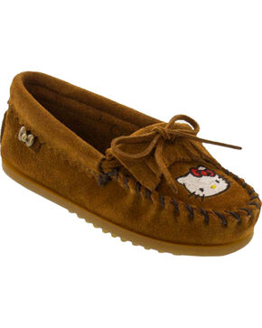 Minnetonka Girls' Hello Kitty Moccasins, Brown, hi-res