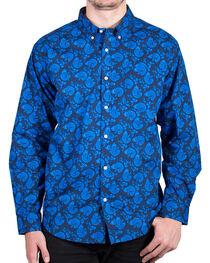 Cody James® Men's Paisley Printed Long Sleeve Shirt, Blue, hi-res