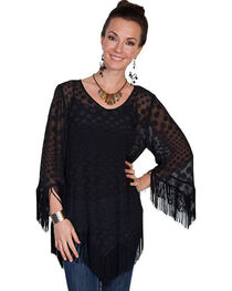 "Scully Honey Creek Sheer ""Dot"" Fringe Blouse, , hi-res"